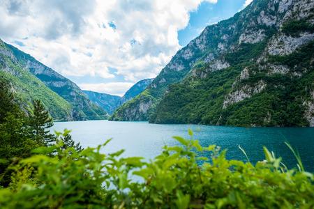beautiful landscape of Piva Lake (Pivsko Jezero) in Montenegro