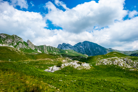 green beautiful valley, mountains and blue cloudy sky in Durmitor massif, Montenegro Stok Fotoğraf