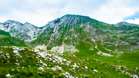 green valley with stones and mountains in Durmitor massif, Montenegro