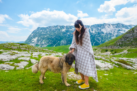 beautiful woman in blanket palming fluffy dog on valley in Durmitor massif, Montenegro Stock Photo