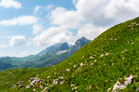 green hills with small stones at Durmitor massif, Montenegro