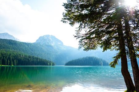 beautiful Bear Peak and glacial Black Lake in Montenegro Фото со стока