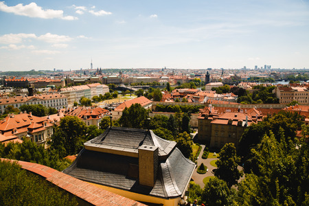 view of beautiful old roofs in Prague, Czech Republic