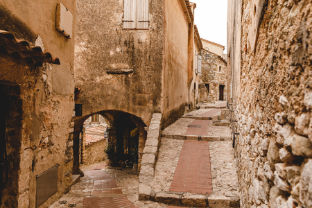 ancient grungy buildings at old town, Eze, France