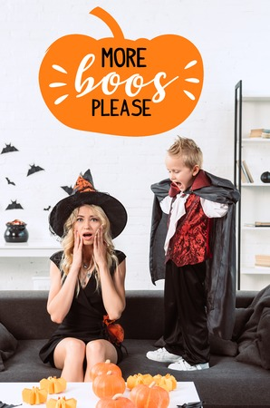 little boy in vampire costume screaming at mother in witch halloween costume at home with more boos please lettering