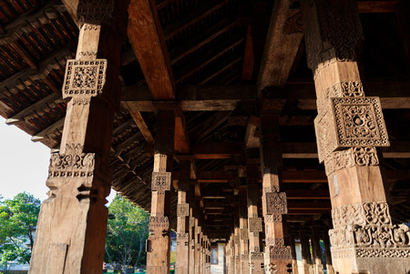 Close up view of ancient traditional wooden architecture, Kandy, sri lanka