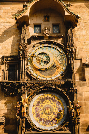 Astronomical clock in Prague old town square, Czech Republic