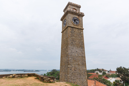 scenic view of city clock against clear blue sky, sri lanka, galle fort