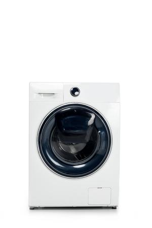 closed automatic washing machine isolated on white