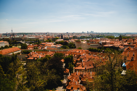 cityscape with roofs of buildings in Prague, Czech Republic