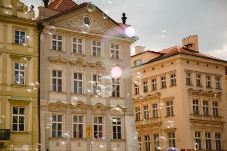 soap bubbles in beautiful old town in Prague, Czech Republic Stock Photo