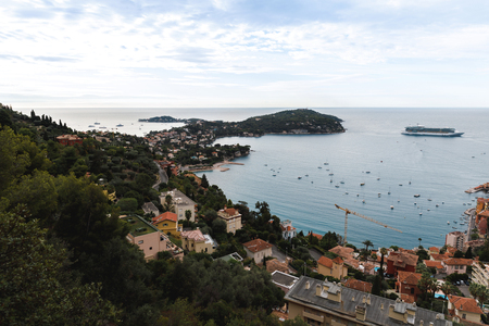 aerial view of old european city located on seashore with lot of ships and peninsula, Eze, France Reklamní fotografie