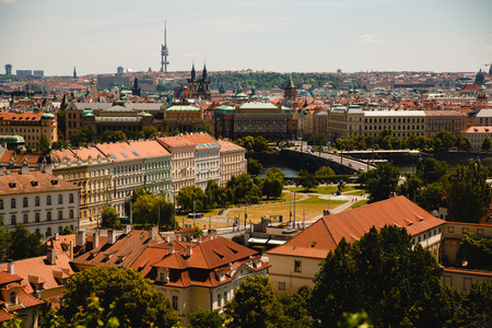 view of roofs in old town in Prague, Czech Republic Stock Photo