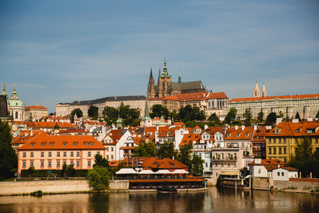 Old city Prague and Vltava river, Czech Republic