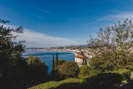 small european town on sea coast on sunny day, Nice, France