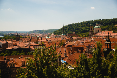 cityscape with roofs of old buildings in Prague, Czech Republic