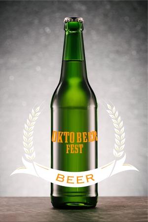 beer bottle on tabletop on grey background with oktoberfest beer lettering