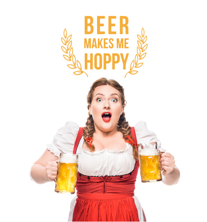 shocked oktoberfest waitress in traditional bavarian dress with mugs of light beer isolated on white background with