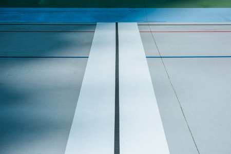 lines on empty velodrome, urban geometric background Stock Photo - 112306128