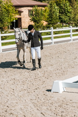 handsome male equestrian in professional apparel walking near horse at horse club Stock Photo