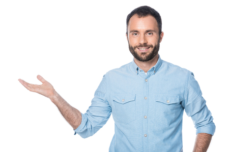man presenting something isolated on white