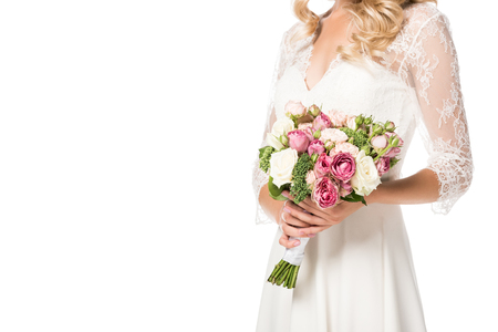 cropped shot of bride holding beautiful bouquet isolated on white Stock fotó