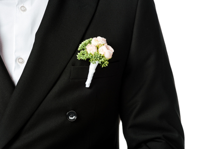 cropped shot of groom in stylish black suit with boutonniere isolated on white