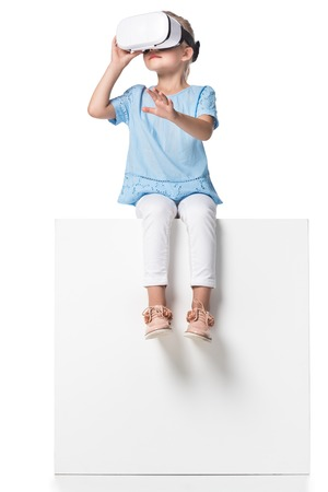 child using wearable technology isolated on white