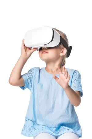 child using virtual reality headset isolated on white Reklamní fotografie