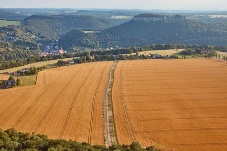 aerial view of road between beautiful orange fields with harvest in Bad Schandau, Germany Stock Photo