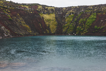 scenic veiw of volcanic crater lake Kerid in Iceland
