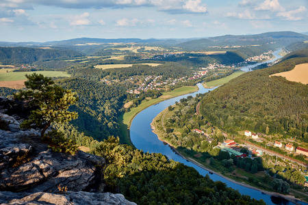 aerial view of beautiful elbe river, forest and rocks in Bad Schandau, Germany 스톡 콘텐츠