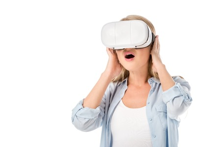 shocked pregnant woman in vr headset isolated on white