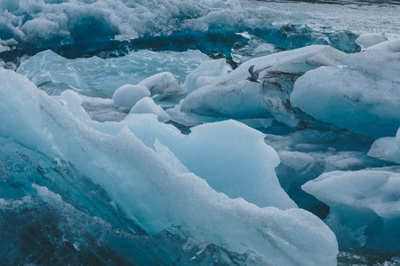 close-up shot of glacier blue ice pieces floating in water, Iceland