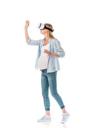 expressive pregnant woman in vr headset gesturing with hands isolated on white