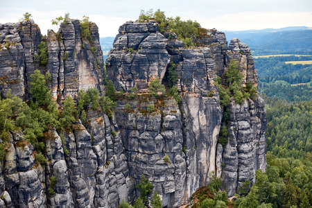 aerial view of beautiful landscape with old rocks and forest in Bastei, Germany Banco de Imagens