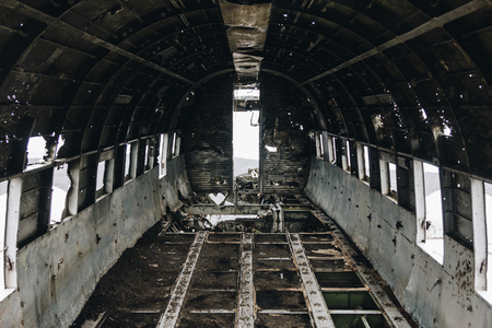 inside of DC3 Plane wreck in Solheimasandur beach, Iceland 写真素材