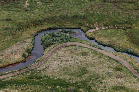 aerial view of beautiful river flowing through highlands in Iceland