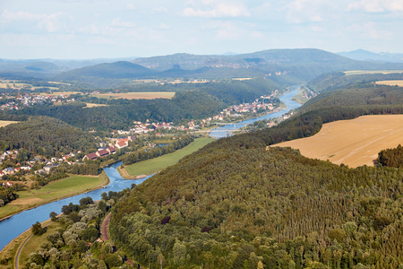 aerial view of beautiful elbe river, forest and Bad Schandau town in Germany Standard-Bild - 109921294