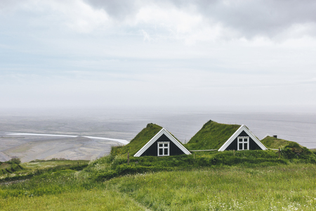scenic view of Black farmhouses in Skaftafell National Park in Iceland Stock fotó
