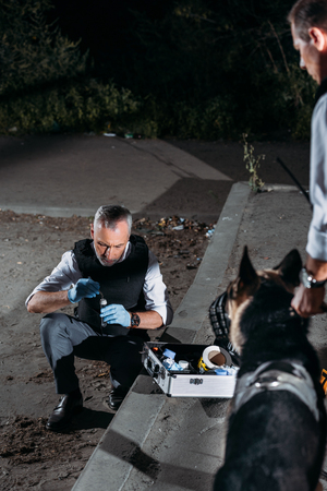 male police officer in latex gloves collecting evidence with case for investigation tools while his colleague standing with dog on leash at crime scene