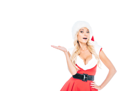 sexy santa girl in christmas hat doing dubium gesture isolated on white background