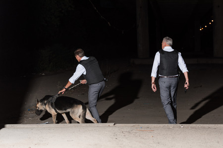 rear view of male police officers with german shepherd on leash at street