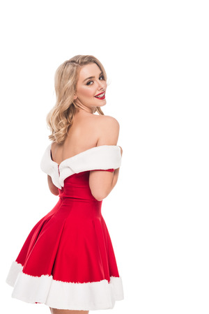 seductive santa girl in christmas dress with naked shoulders isolated on white Stock Photo