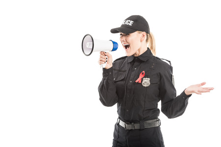 female police officer with aids awareness red ribbon shouting with megaphone isolated on white Stockfoto
