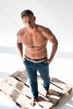 High angle view of shirtless handsome adult man standing on pallet on white and looking at camera