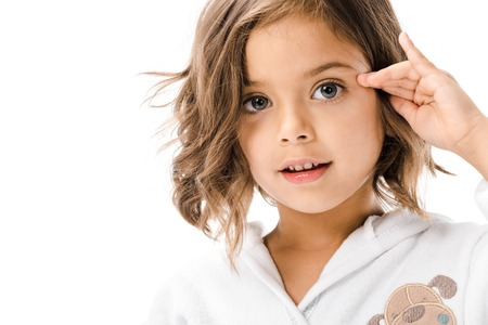 Portrait of cute child in white bathrobe isolated on white background Stok Fotoğraf
