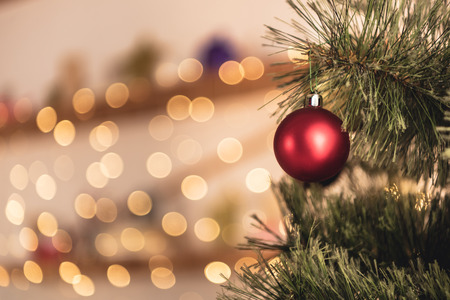 Cropped image of Christmas tree with red toy in room Stock Photo