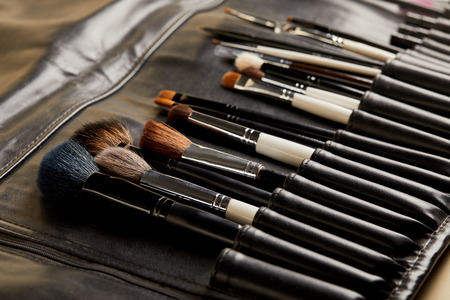 close-up shot of leather holder with professional makeup brushes Stock Photo