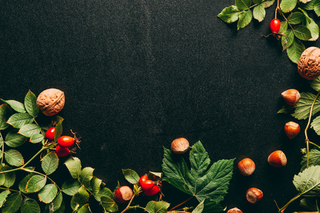piatto disteso con disposizione di piante autunnali su sfondo nero